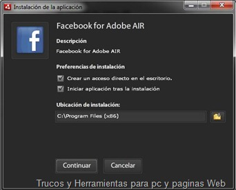 Facebook Adobe Air